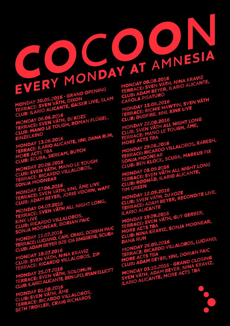 Cocoon announce full summer party calendar at Amnesia Ibiza