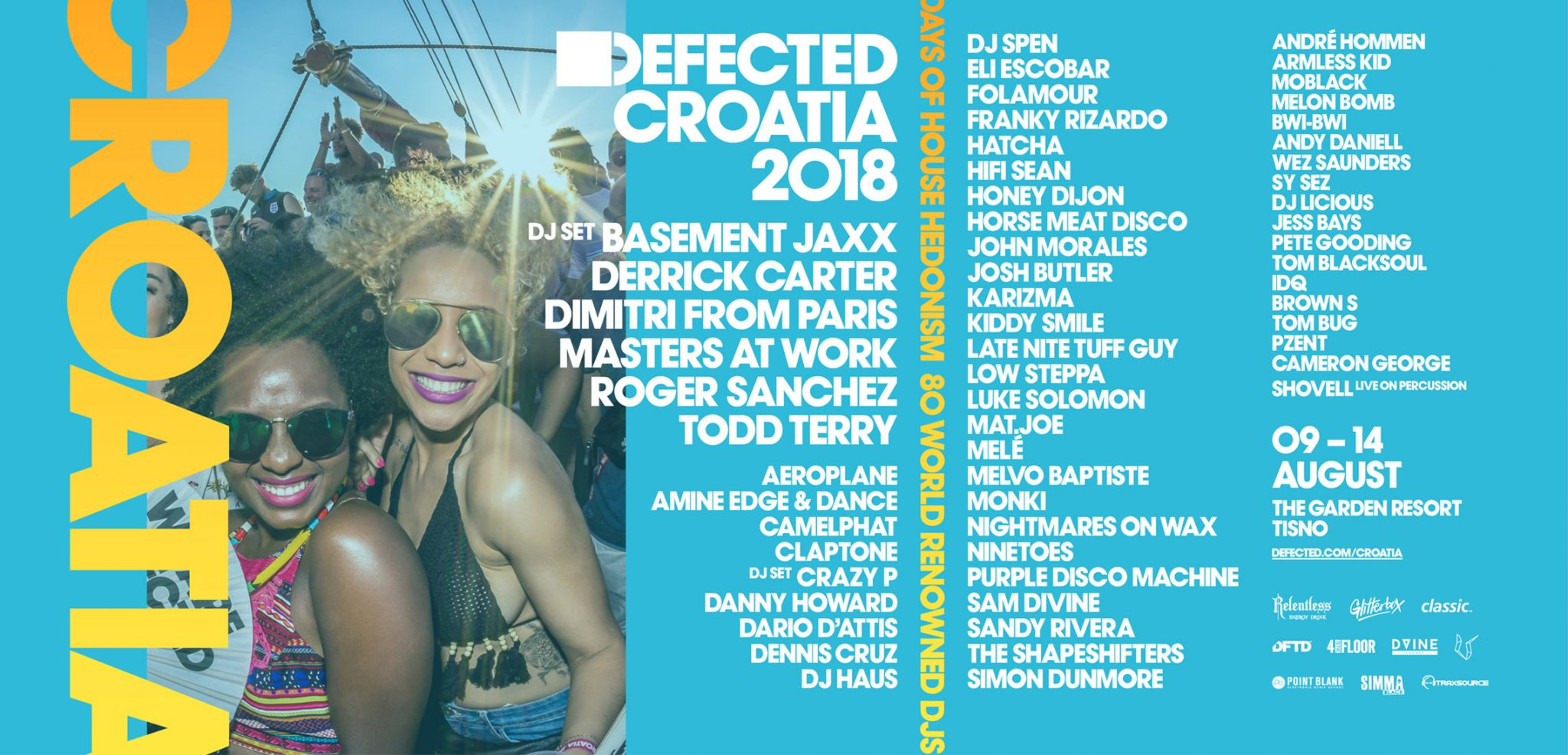 Defected Croatia 2018 - Phase 1 line up inc Basement Jaxx, Camelphat, Derrick Carter and more